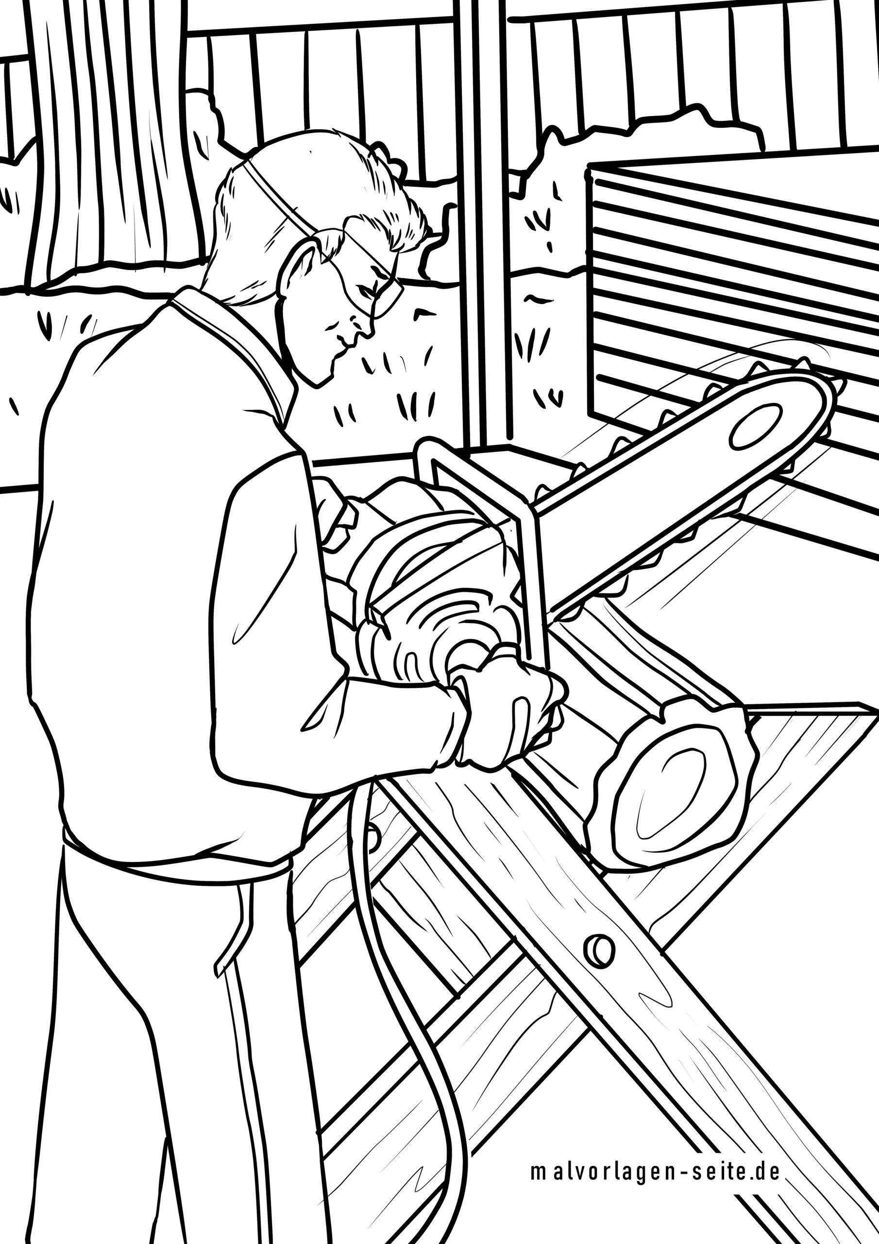 Coloring page man with chainsaw