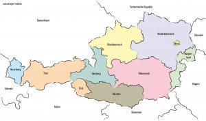Politisk kort over Østrig med nabolande