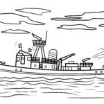 Coloring page fire boat | Ships fire brigade