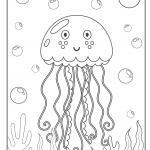 Coloring page jellyfish | Animals in the water