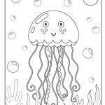 Tegninger til farvelægning vandmænd | Dyr i vandet