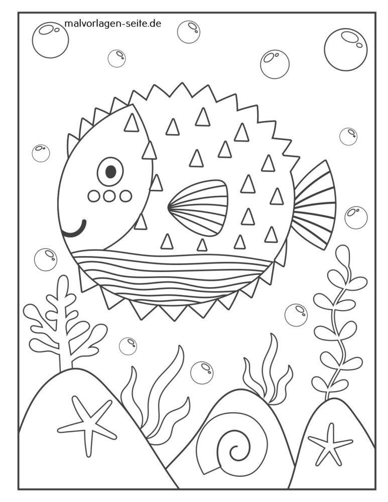 Malvorlage Kugelfisch