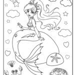 Coloring page mermaid