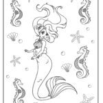 Coloring page mermaid with seahorse and starfish