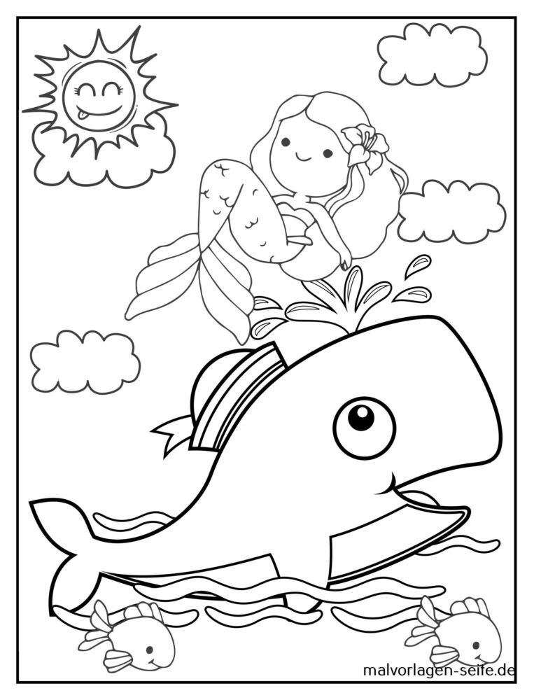 Coloring page mermaid with whale