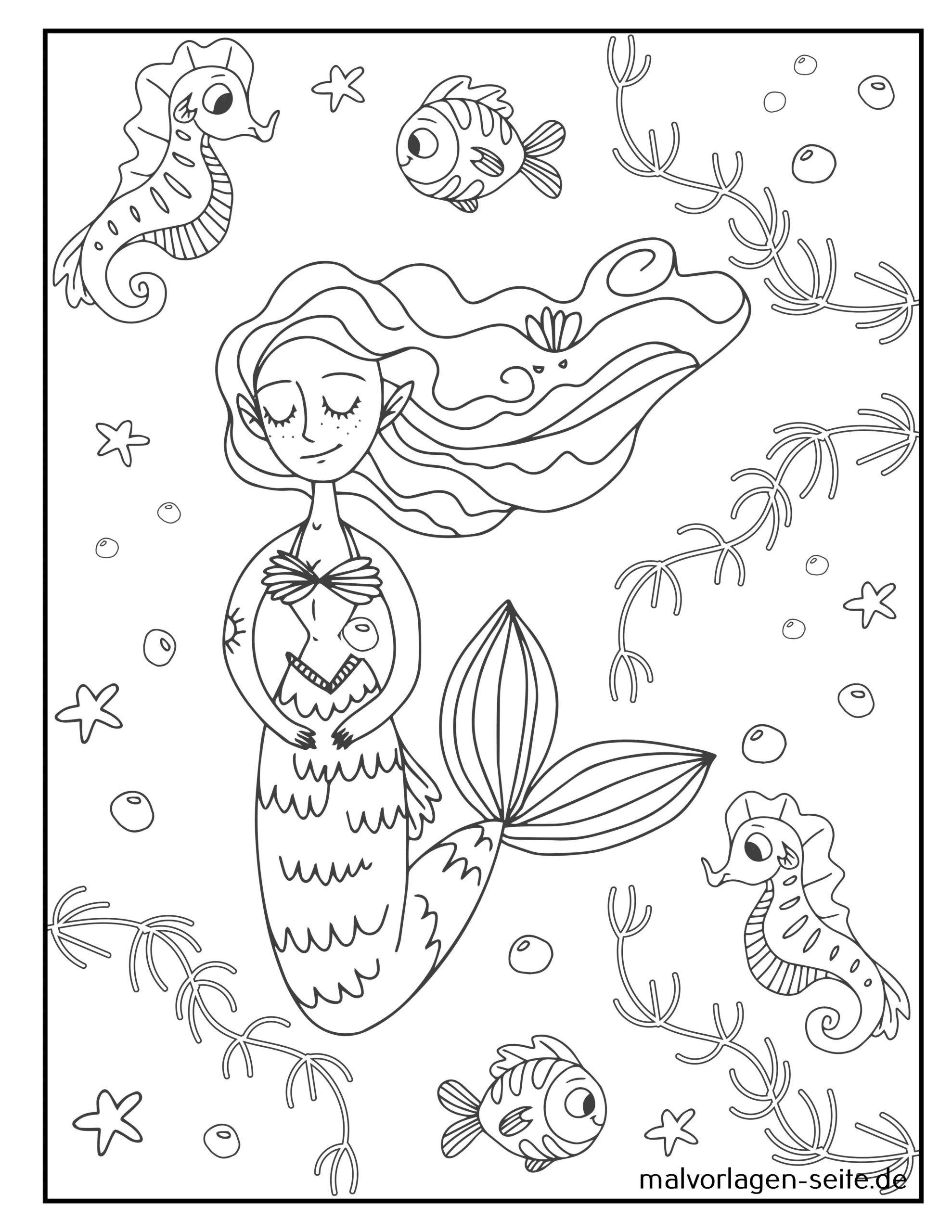 malvorlage meerjungfrau  kostenlose ausmalbilder
