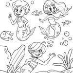 Coloring page mermaids for coloring