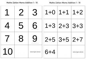 Math memo template addition 1-10