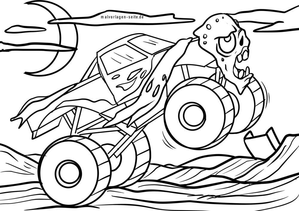 malvorlage monstertruck  fahrzeuge  kostenlose ausmalbilder