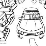 Coloring page parking space / looking for a parking space