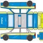 Folding police car handicraft template