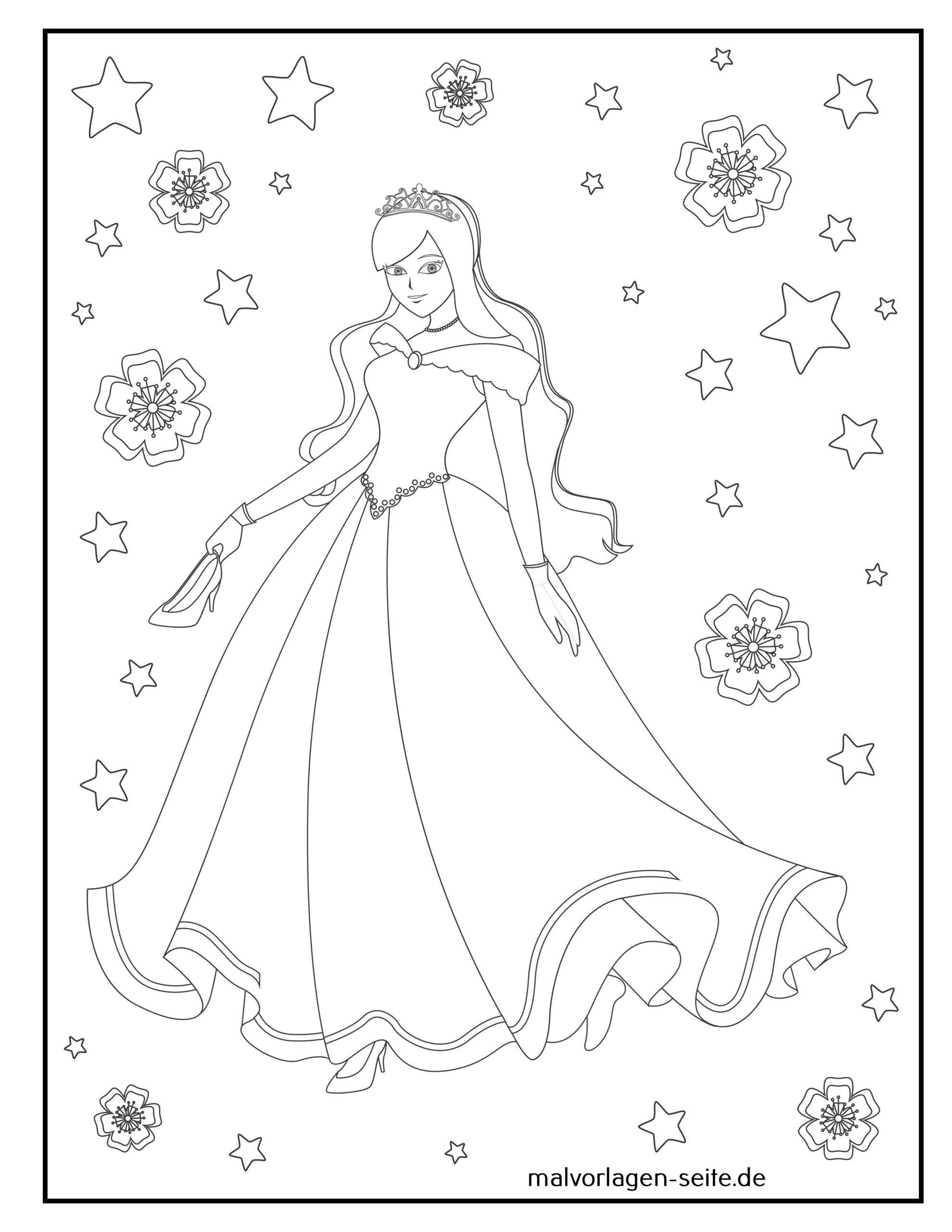 Tolle Malvorlage Prinzessin - Kostenlose Ausmalbilder
