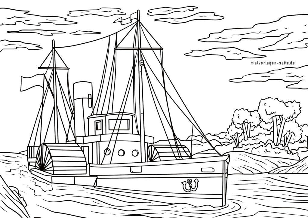 Coloring page paddle steamer with paddle wheels