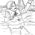 Tegninger til farvelægning iført redningsvest