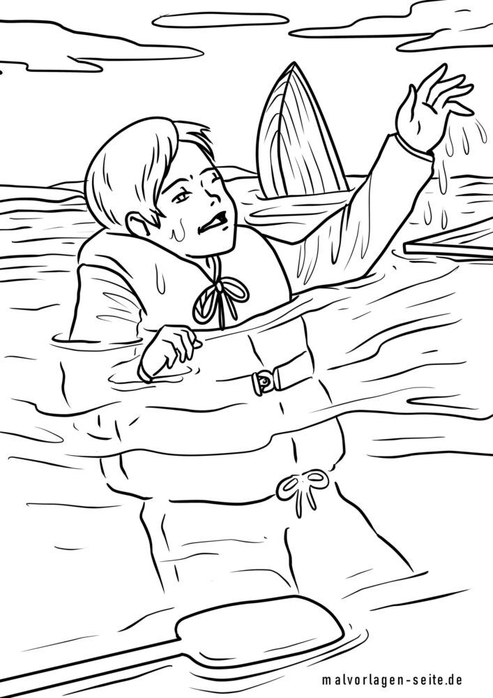 Coloring page put on life jacket