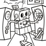 Coloring page robot | Technology economy