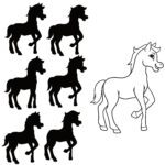 Shadow puzzle horse - find the matching shadow