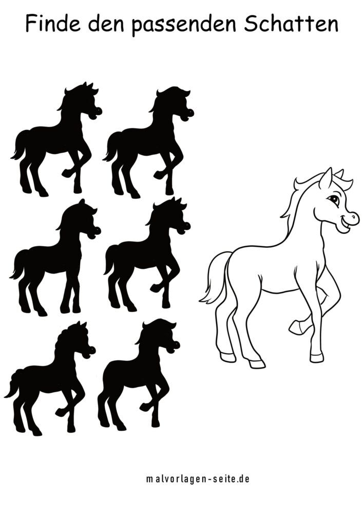 Shadow puzzle horse - which shadow matches the original?
