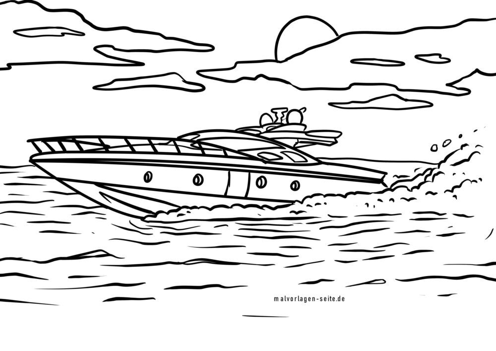 Coloring page speedboat
