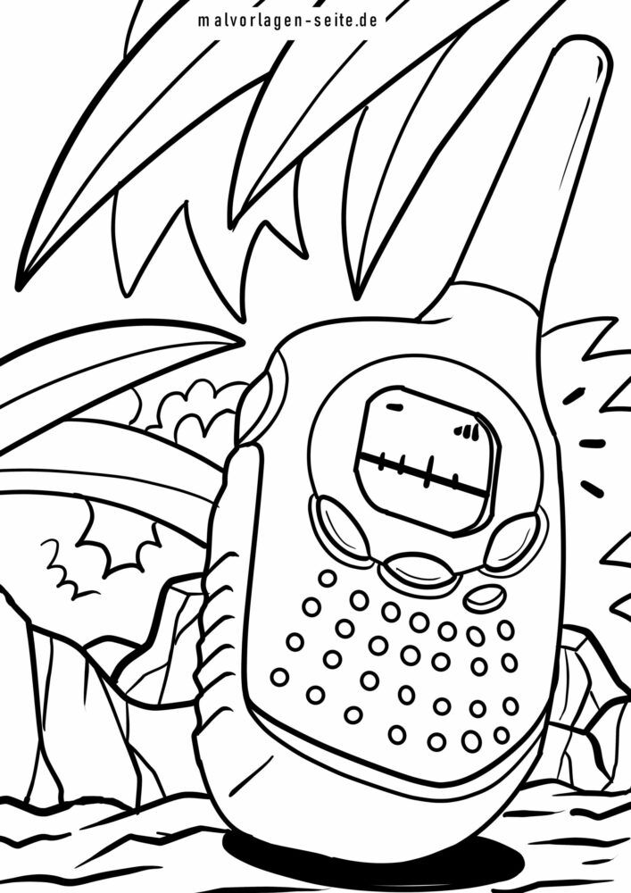 Coloring page two-way radio / walkie-talkie
