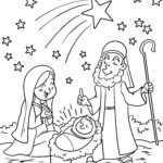 Coloring page birth of christ | Christmas