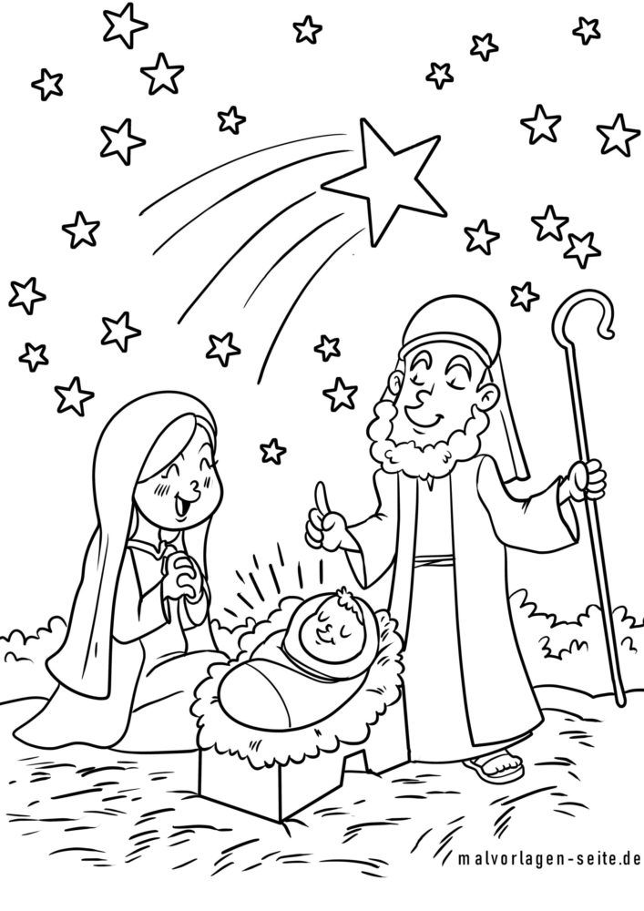 Coloring page Christmas Nativity