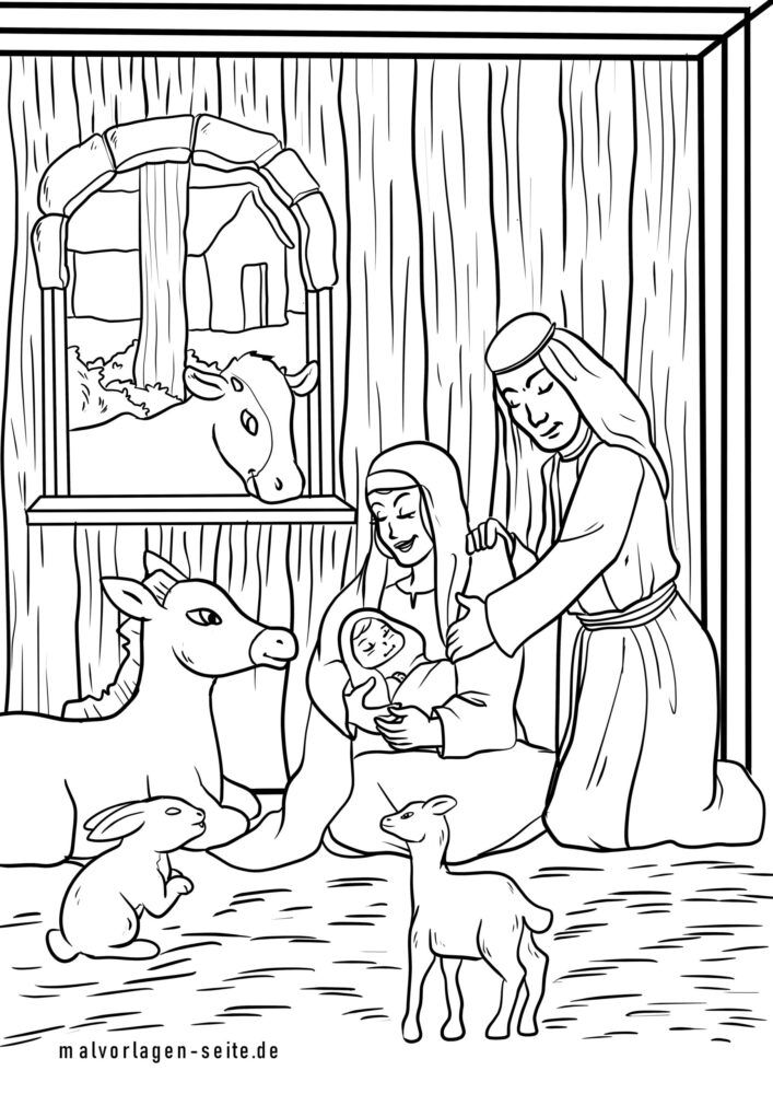 Coloring page Christmas birth of Jesus in the stable