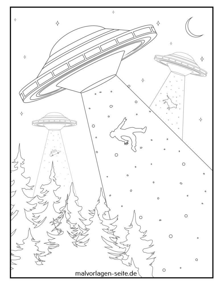Coloring page aliens spaceship