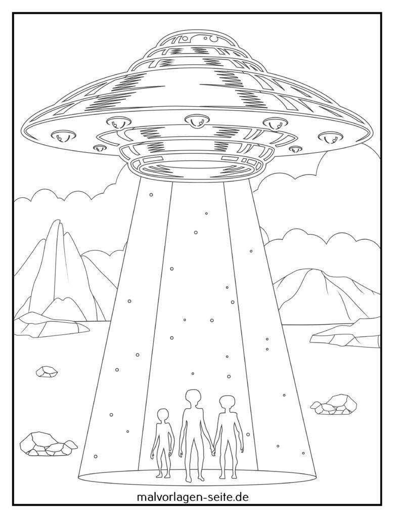 ausmalbilder aliens  außerirdische kostenlos drucken und