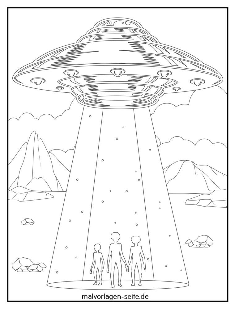 Coloring page landing of aliens