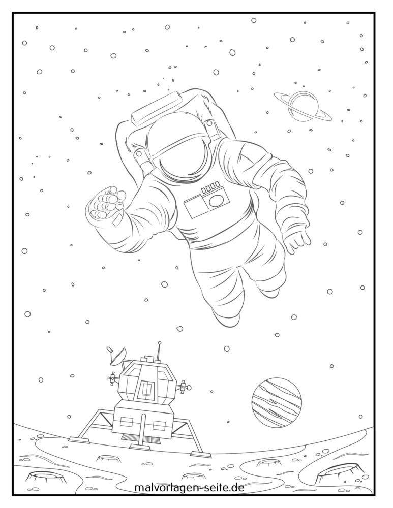 Värityskuva astronautti ja laskeutuja