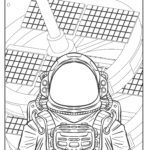 Coloring page astronaut in space