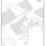 Coloring page astronaut field service repair