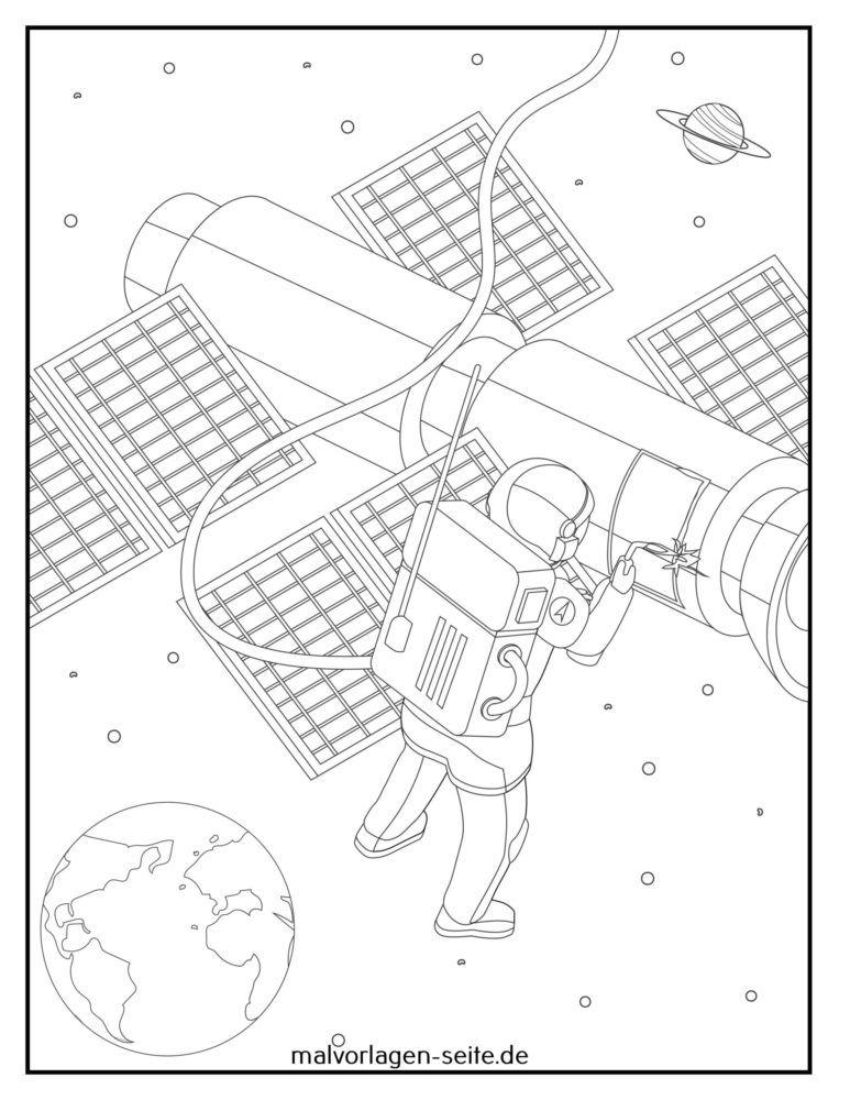 Malvorlage Astronaut Außeneinsatz Reparatur