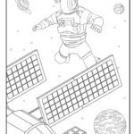 Coloring page astronaut solar panel