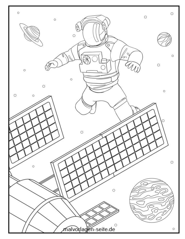 Coloriage panneau solaire astronaute