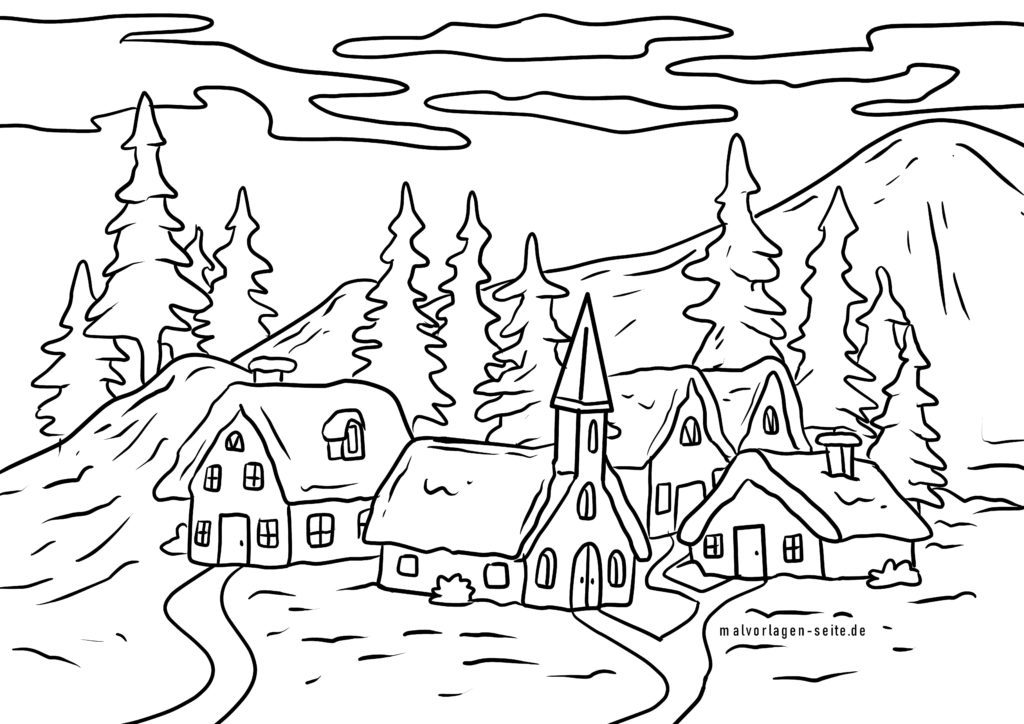 Coloring page winter village | winter snow