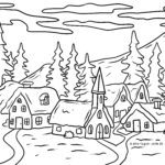 Coloring page village in winter with snow