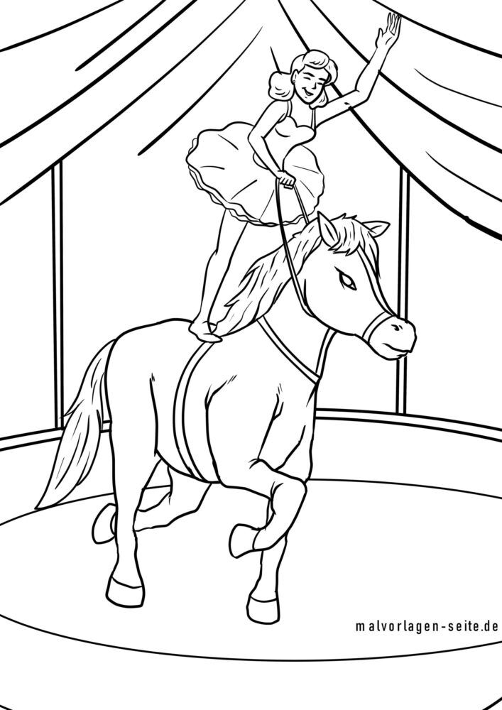 Coloring page circus pony