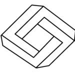 Coloring page impossible diamond in 3D