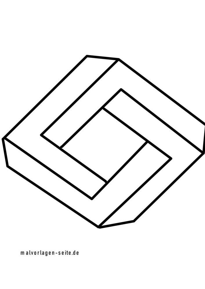 Zbarvení stránky nemožné diamant ve 3D