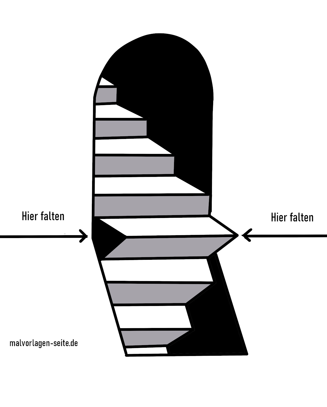 Staircase with 3D effect for folding