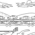 Coloring page car transporter | truck
