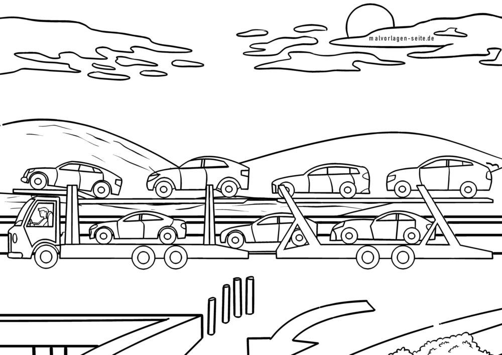 malvorlage autotransporter | lkw - kostenlose ausmalbilder