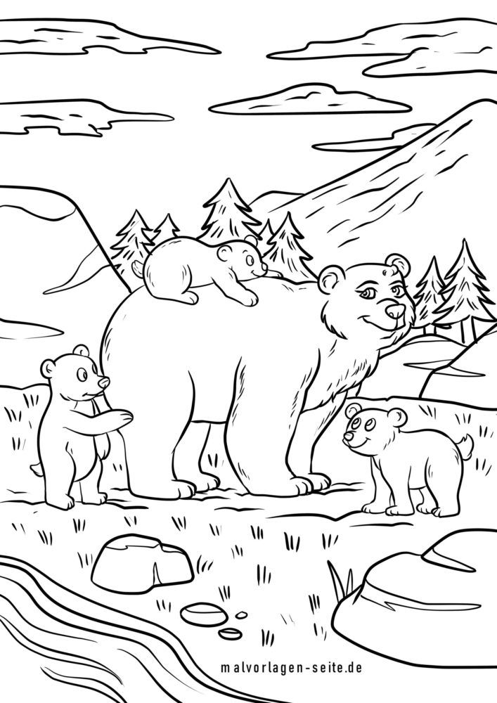 Coloriage famille d'ours