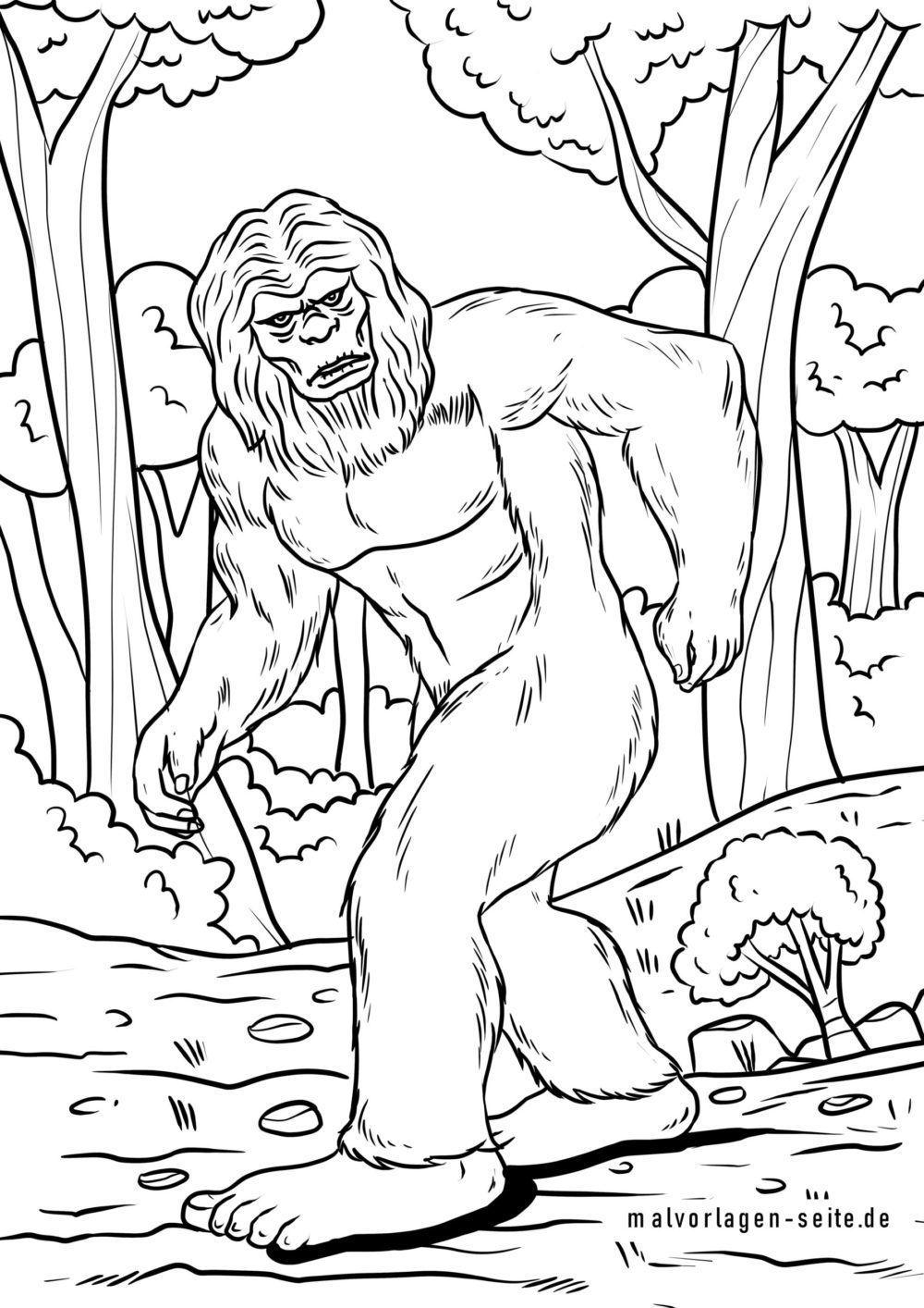 Stranica za bojanje bigfoot