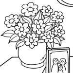 דף צביעה פרחים בעציץ