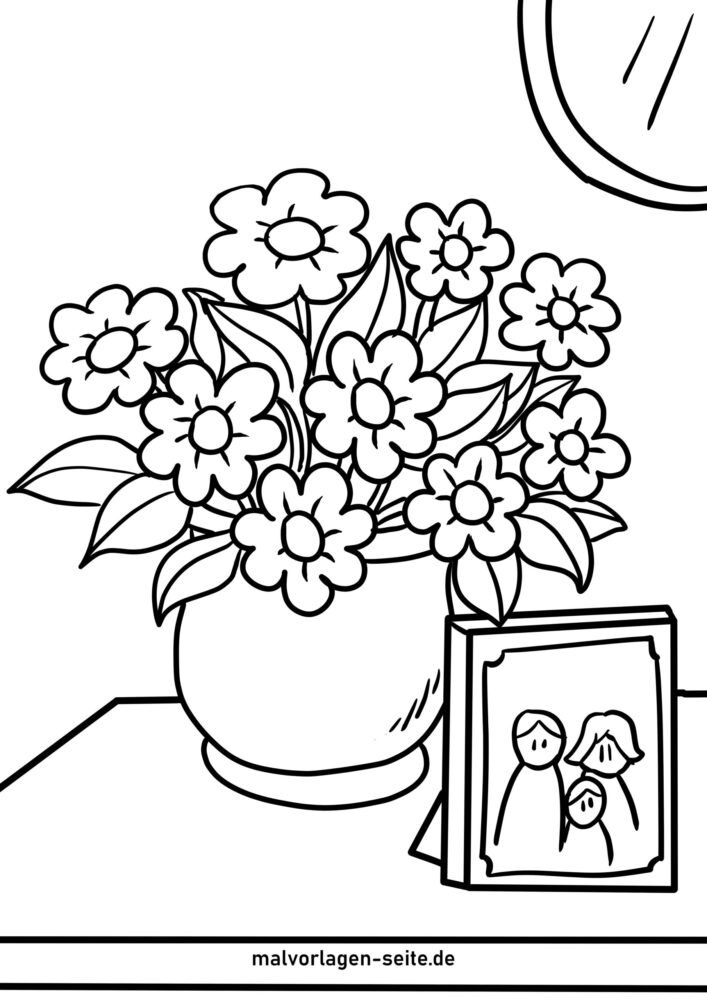 Coloring page potted flowers