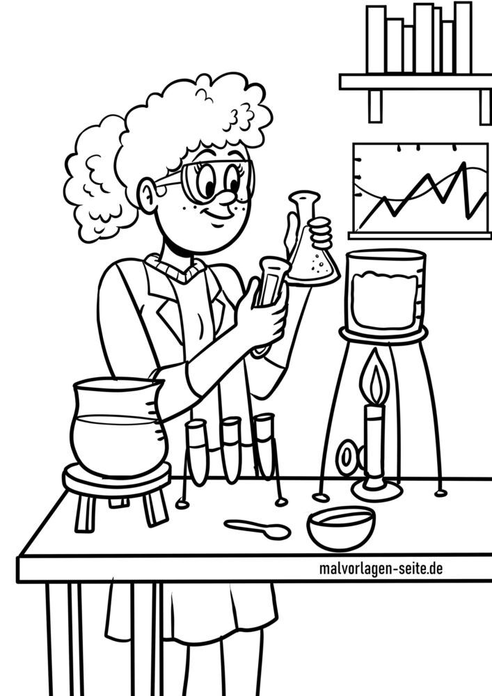Coloring page chemistry experiment