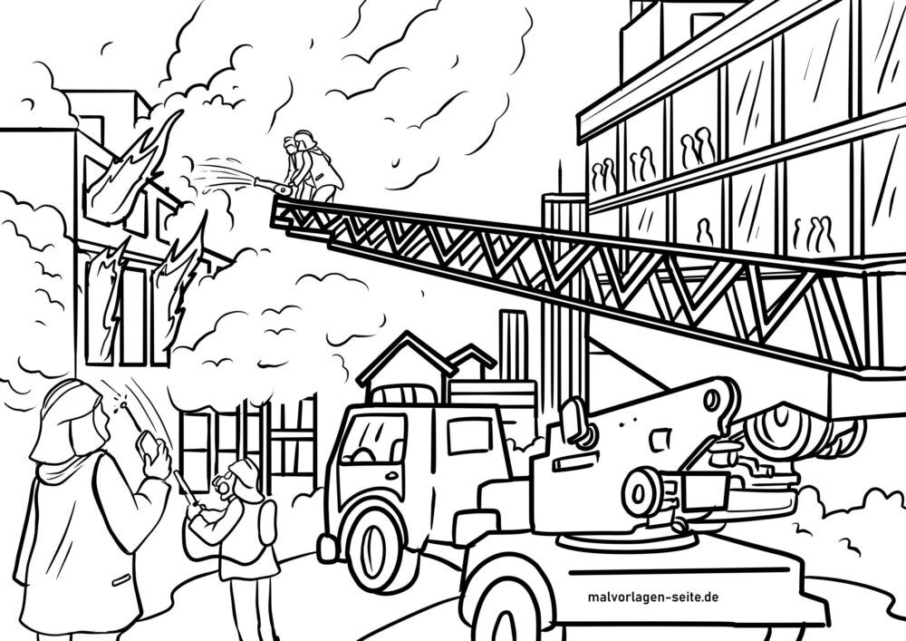Coloring page fire department extinguish fire